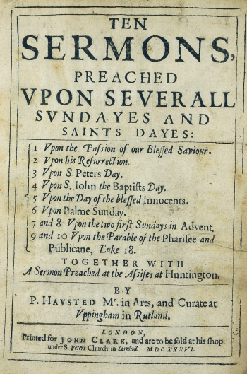 Title page of Hausted's sermons.