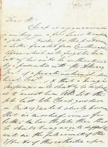 Letter from Edward Ffrench Bromhead to John William Whittaker, 18 January 1813
