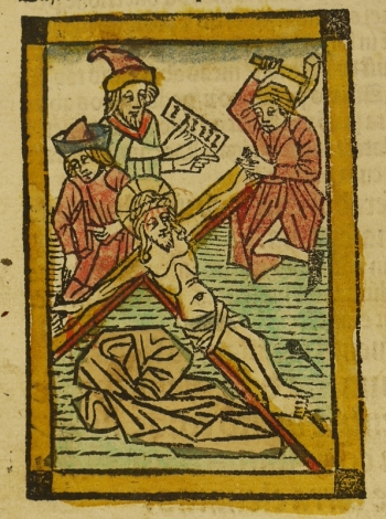 Coloured woodcut from 1489 edition of Imitatio Christi