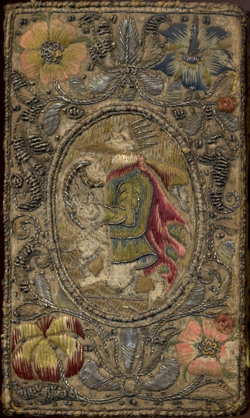 Embroidered binding from 1617 edition of Imitatio Christi