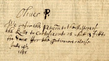 Petition endorsed by Oliver Cromwell (1655)