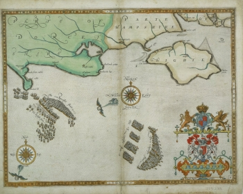 1590 chart showing the defeat of the Spanish Armada.