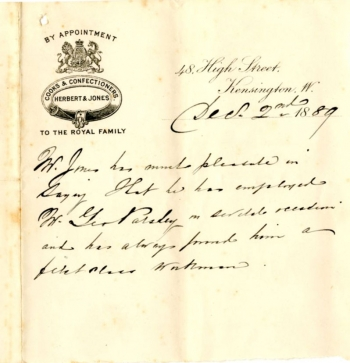 Letter of reference from FD George, Royal Confectioner