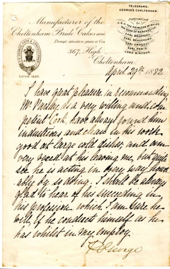 Letter of reference from FD George, confectioner to the Royal Family