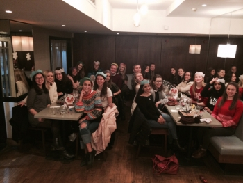 The team celebrating their success at the Netball Christmas dinner