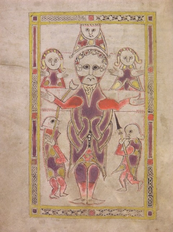 Crucifixion scene, from f.35v of MS C.9, Irish Psalter. 10th-11th century.