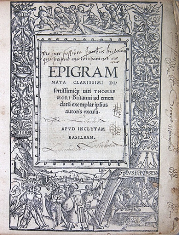 Title page of More's Epigrammata.