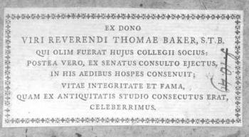 Thomas Baker's book label.