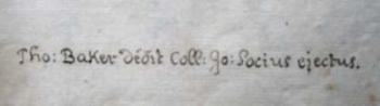 Thomas Baker's inscription.
