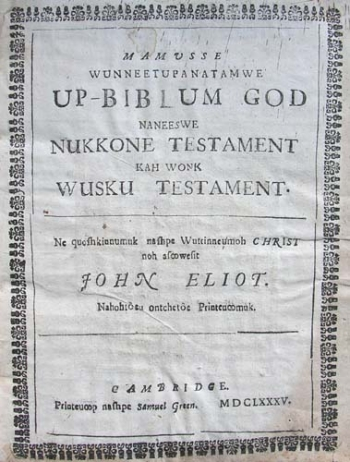 Title page of the Algonquin Bible.