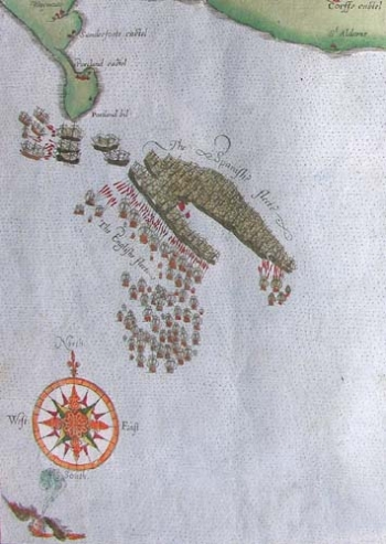 Detail of chart showing the engagement near Portland Bill.