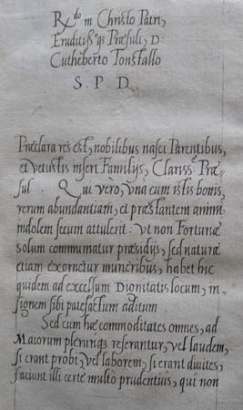 The opening of one of Ascham's dedications to Cuthbert Tunstall.