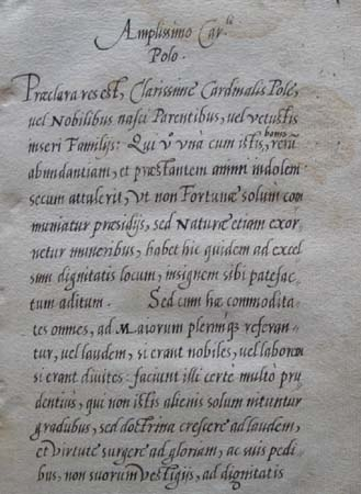 The opening of Ascham's dedication to Cardinal Pole.