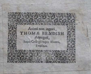 Sir Thomas Bendish's book label.