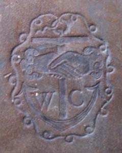 Crashaw's anchor device with clasped hands and his initials.