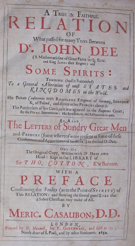 Title page of Dee's Conversations with Spirits.
