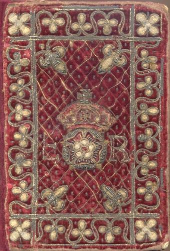 Embroidered velvet binding with Elizabeth I's badge.
