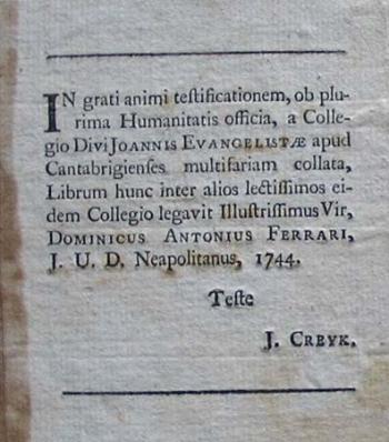 Domenico Ferrari's book label.