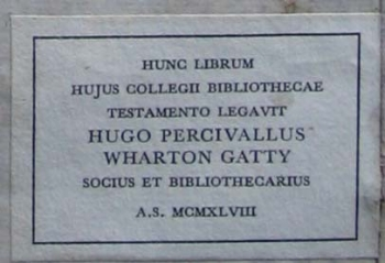 Hugh Gatty's book label.