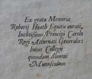 Sir Robert Heath's book label.