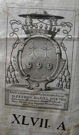 Pierre-Daniel Huet's bookplate.
