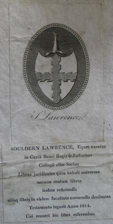 Sir Soulden Lawrence's book label.
