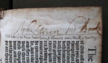 John Lilburne's inscription with a note by Thomas Baker.