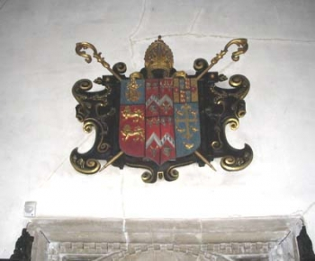 Williams's arms as they hang above the original entrance to the Upper Library.