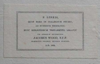 James Wood's book label.