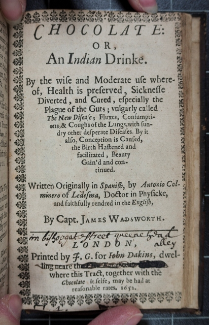 The title page of 'Chocolate, or, an Indian drinke...'