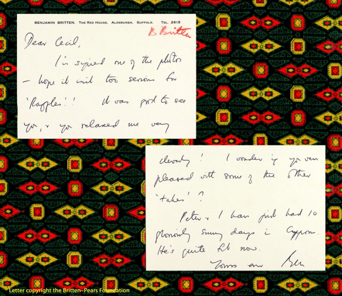 Note from Benjamin Britten to Cecil Beaton, 1968 [Beaton/A1/93/1]