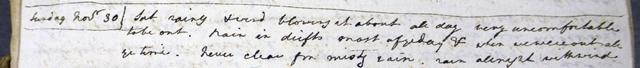 John Lee's diary 30 November 1806 weather