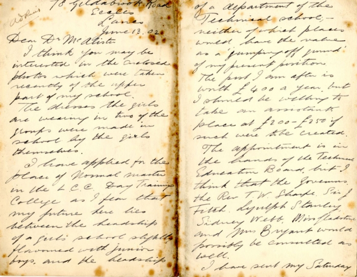 Letter to Donald Macalister, 1902