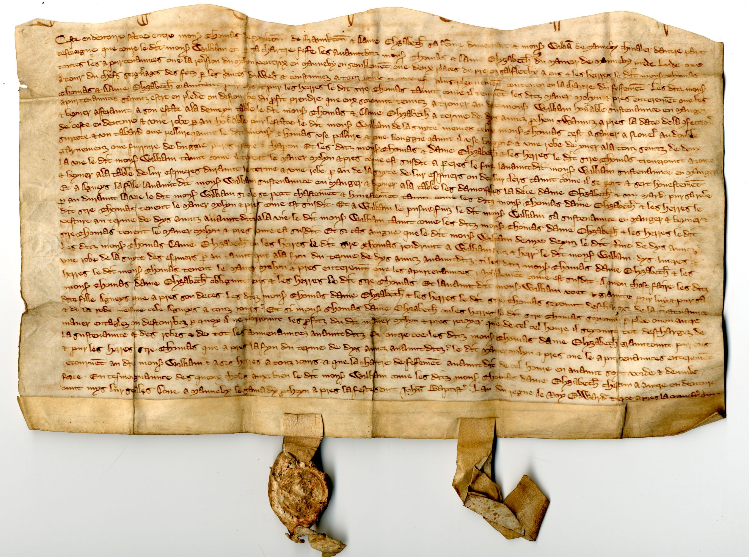 14th century indenture describing a Knight's livery