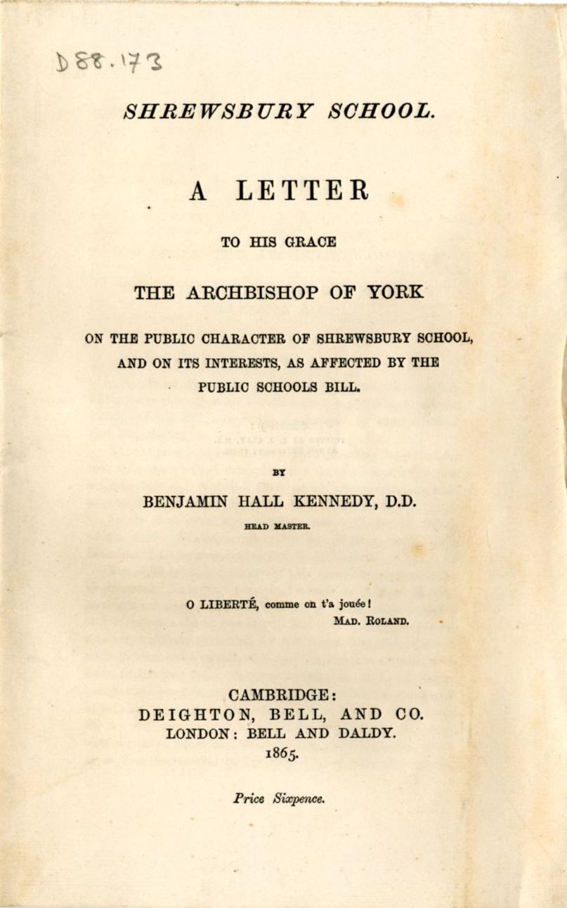 Printed circular (1865)