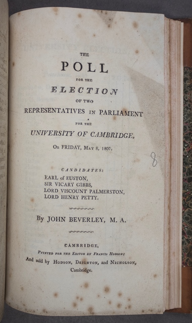 Poll book for Cambridge University 1807