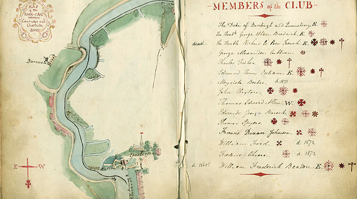 Watercolour map of the River Cam from Boat Club President's Book (1829)