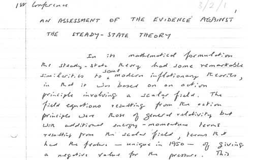Autograph manuscript of an article defending the steady-state theory