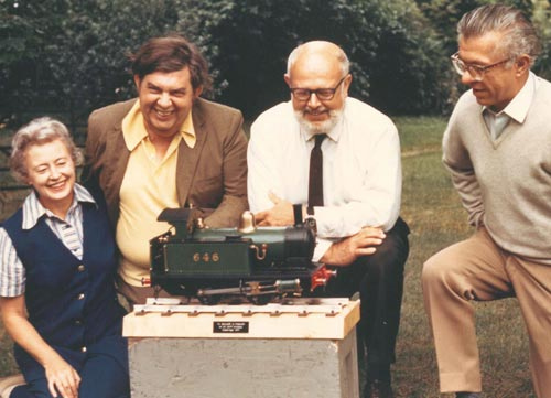 Photograph of Margaret and Geoffrey Burbidge, Willy Fowler, and Fred Hoyle in 1971.