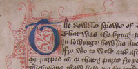 Beginning of a manuscript copy of Geoffrey Chaucer's poem 'Troilus and Criseide', MS L.1