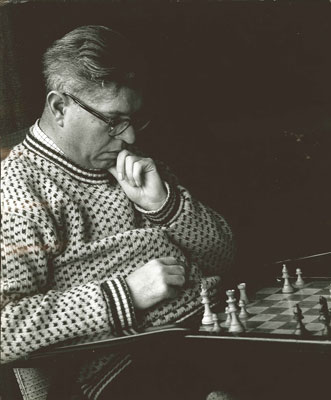 Photograph of Hoyle playing chess, c. 1965