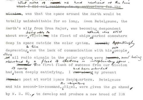Typescript draft of Rockets in Ursa Major with manuscript revisions by Fred Hoyle