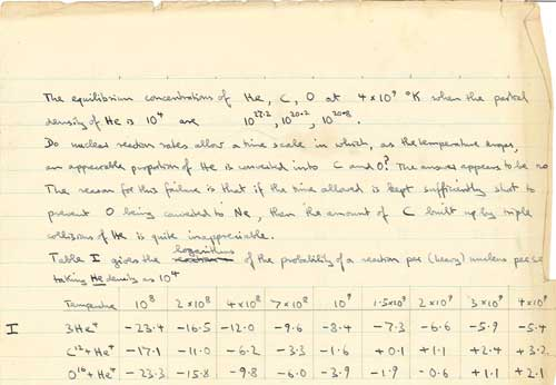 Extract from Hoyle's 1946 notebook showing his early ideas about stellar nucleosynthesis