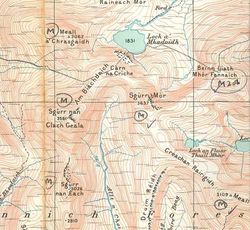 One of Hoyle's OS maps of Scotland, on which he has marked Murnos, and ticked off those he has climbed