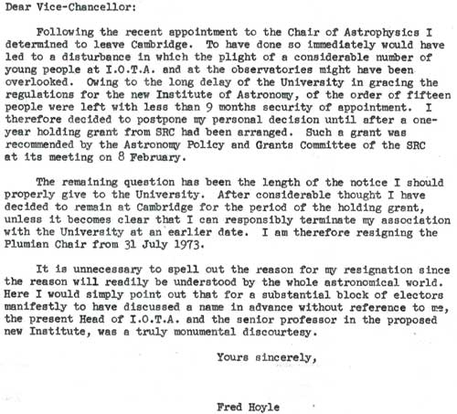 Hoyle's final letter of resignation, sent in February 1972