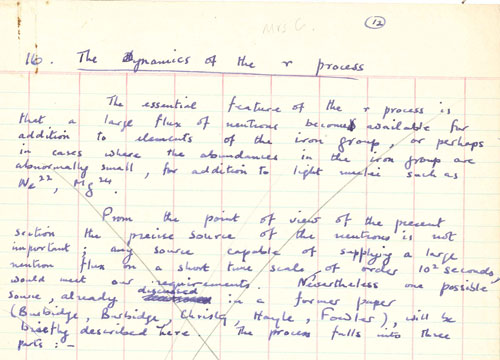 Hoyle's draft of an article about the r-process