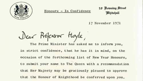 The letter sent on behalf of the Prime Minister informing Hoyle that he had been chosen to receive a Knighthood