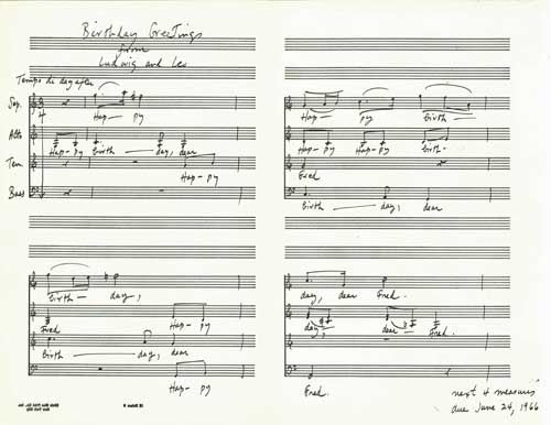 The score of Smit's four-part choral birthday greeting to Fred HOyle in July 1965