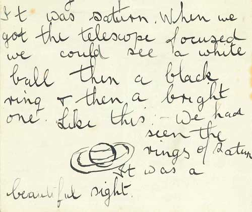 A letter from Fred Hoyle to his father with a drawing of the planet Saturn as seen through his new telescope