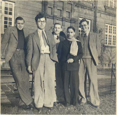 Photograph of Hoyle with some undergraduate friends in Cambridge